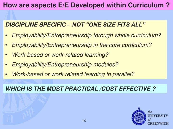 How are aspects E/E Developed within Curriculum ?