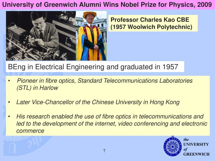 University of Greenwich Alumni Wins Nobel Prize for Physics, 2009