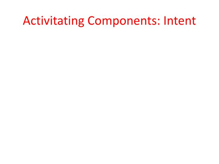 Activitating Components: Intent