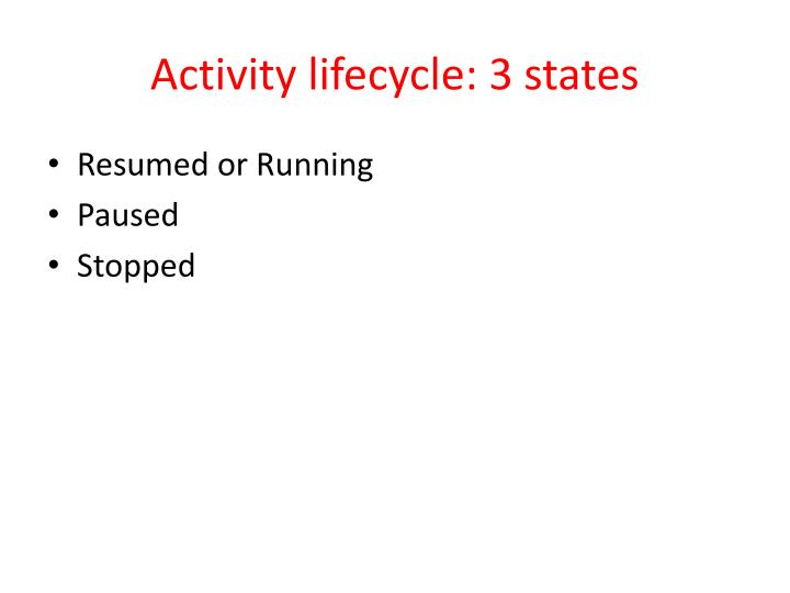 Activity lifecycle: 3 states
