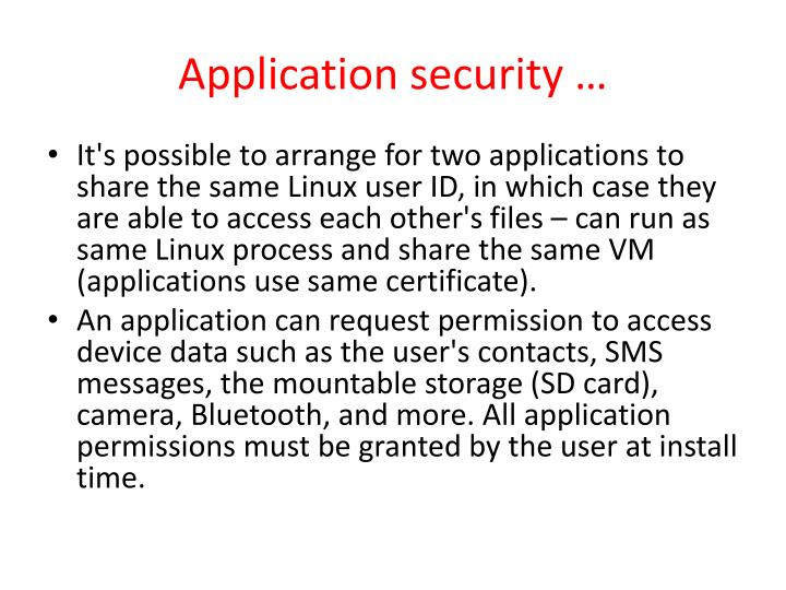 Application security …