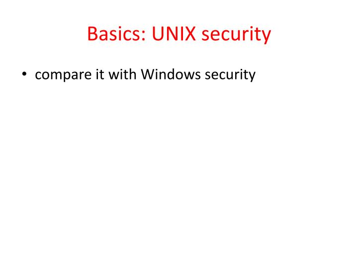 Basics: UNIX security