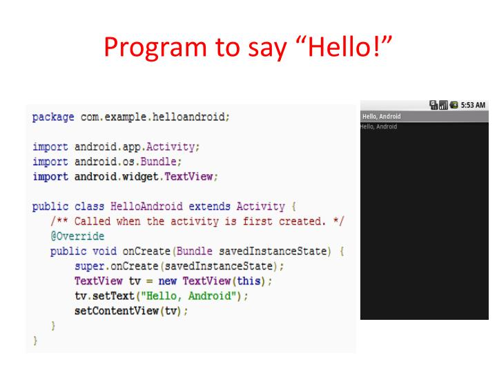 "Program to say ""Hello!"""