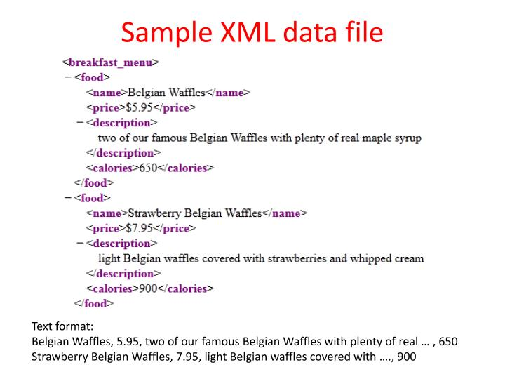 Sample XML data file
