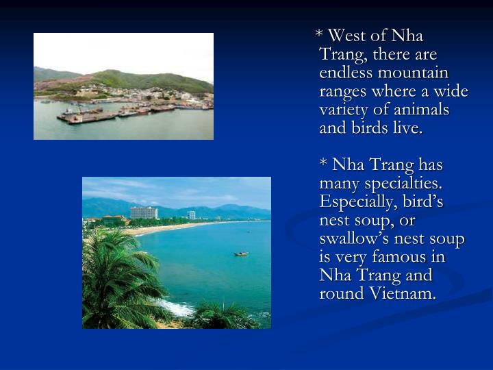 * West of Nha Trang, there are endless mountain ranges where a wide variety of animals and birds live.