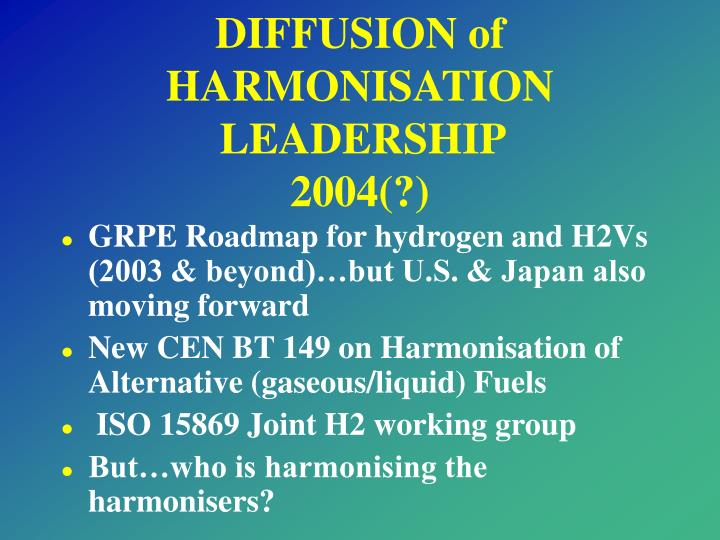 DIFFUSION of HARMONISATION