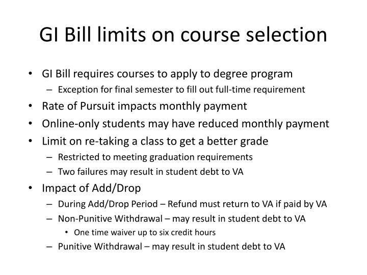 GI Bill limits on course selection