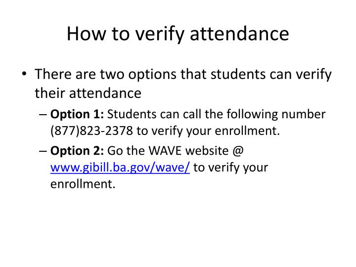 How to verify attendance