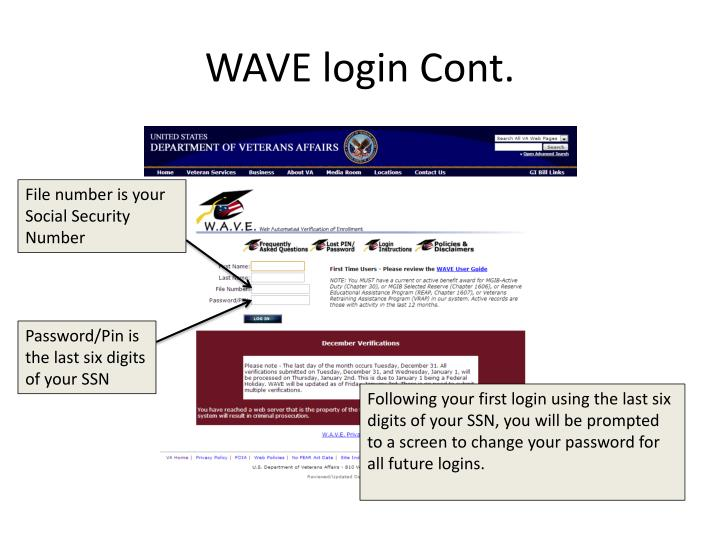 WAVE login Cont.