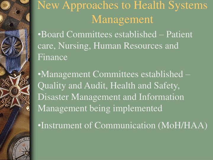 New Approaches to Health Systems Management