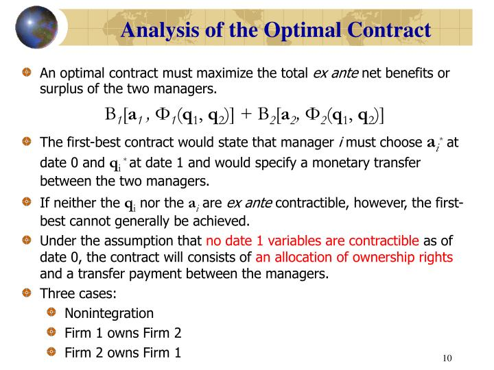 Analysis of the Optimal Contract