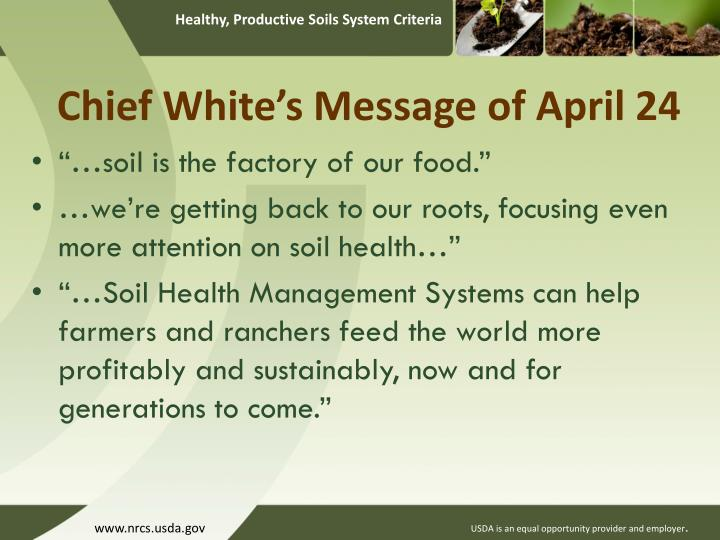 Chief White's Message of April 24