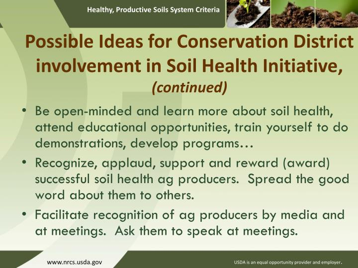Possible Ideas for Conservation District involvement in Soil Health Initiative,