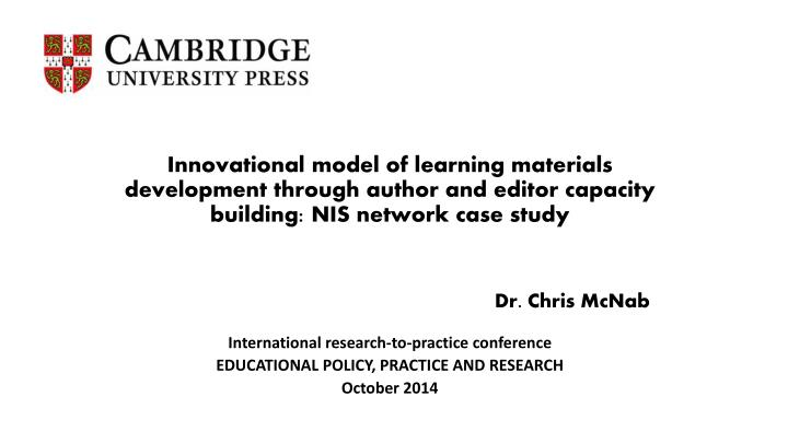 Innovational model of learning materials development through author and editor capacity building: NIS network case study