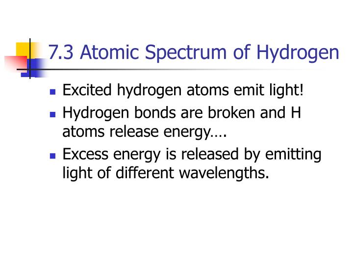 7.3 Atomic Spectrum of Hydrogen