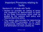 important provisions relating to tariffs