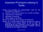 important provisions relating to tariffs1