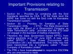 important provisions relating to transmission