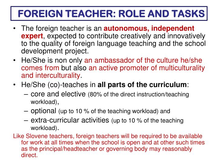 FOREIGN TEACHER: ROLE AND TASKS