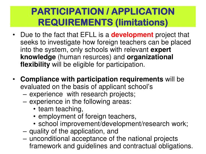 PARTICIPATION / APPLICATION