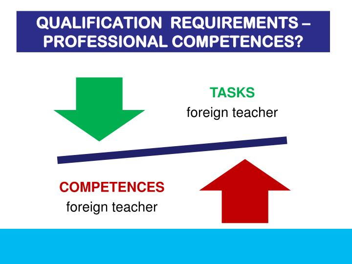 QUALIFICATION  REQUIREMENTS – PROFESSIONAL COMPETENCES?
