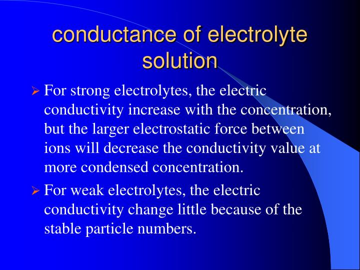 conductance of electrolyte solution