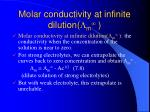 molar conductivity at infinite dilution m