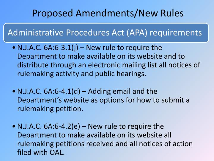 Administrative Procedures Act (APA) requirements