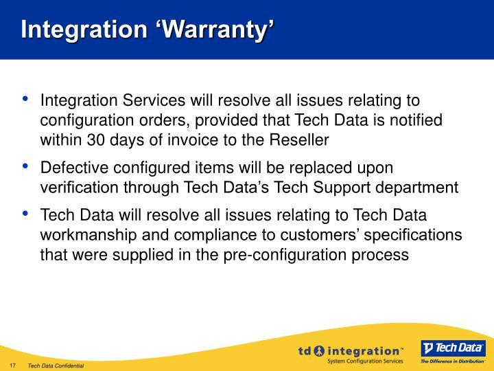 Integration 'Warranty'