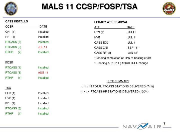 MALS 11 CCSP/FOSP/TSA