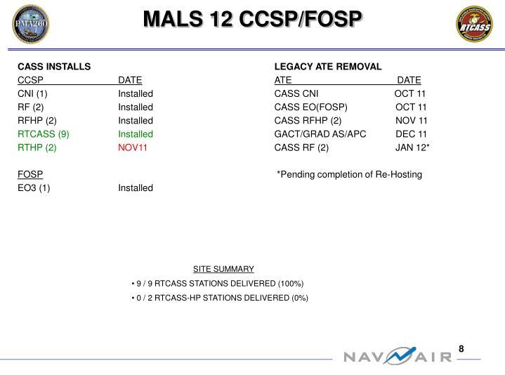 MALS 12 CCSP/FOSP