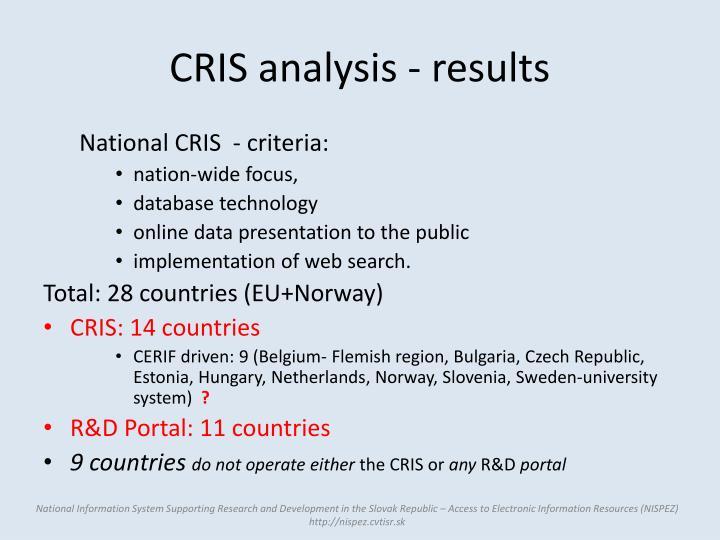 CRIS analysis - results