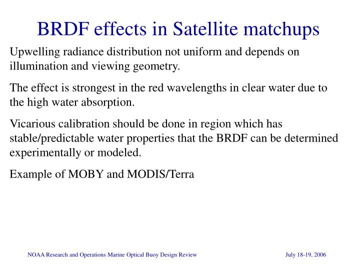 BRDF effects in Satellite matchups