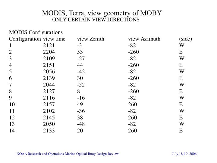 MODIS, Terra, view geometry of MOBY