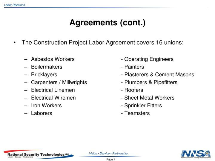 Agreements (cont.)