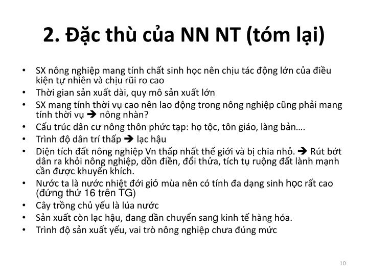 2. Đặc thù của NN NT (tóm lại)
