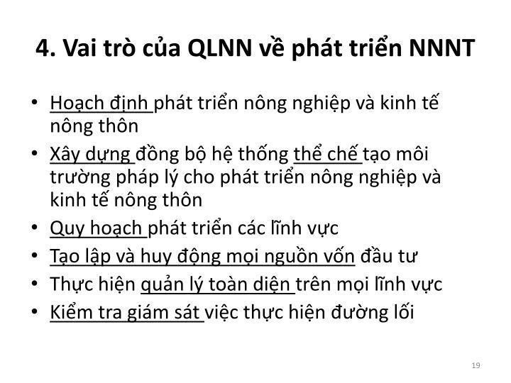4. Vai trò của QLNN về phát triển NNNT