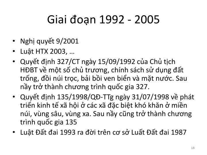 Giai đoạn 1992 - 2005