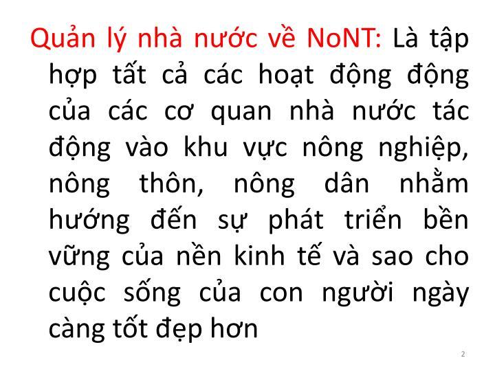 Quản lý nhà nước về NoNT:
