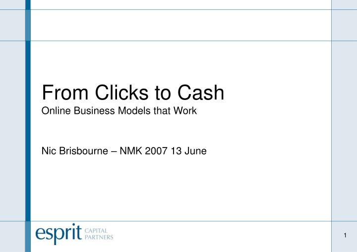 From clicks to cash online business models that work