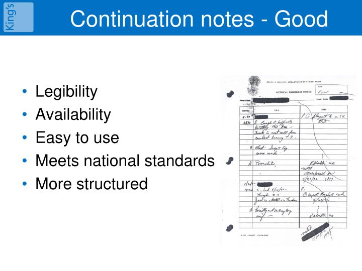 Continuation notes - Good