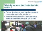what did we want from listening into action