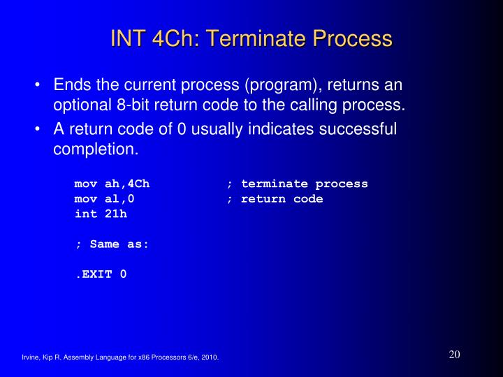 INT 4Ch: Terminate Process