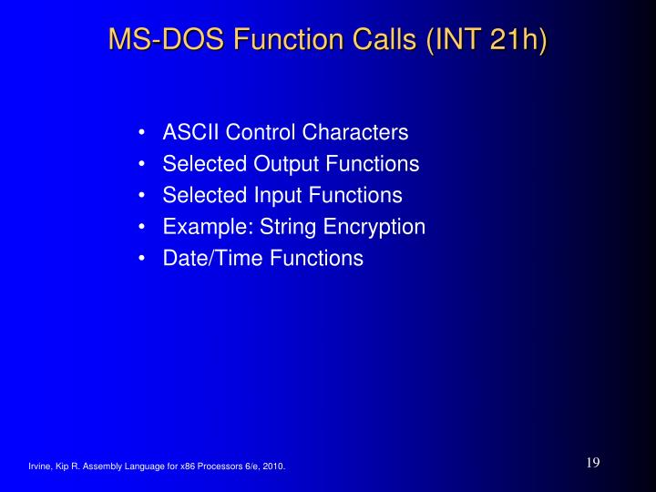 MS-DOS Function Calls (INT 21h)