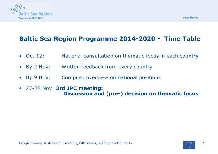 Baltic sea region programme 2014 2020 time table