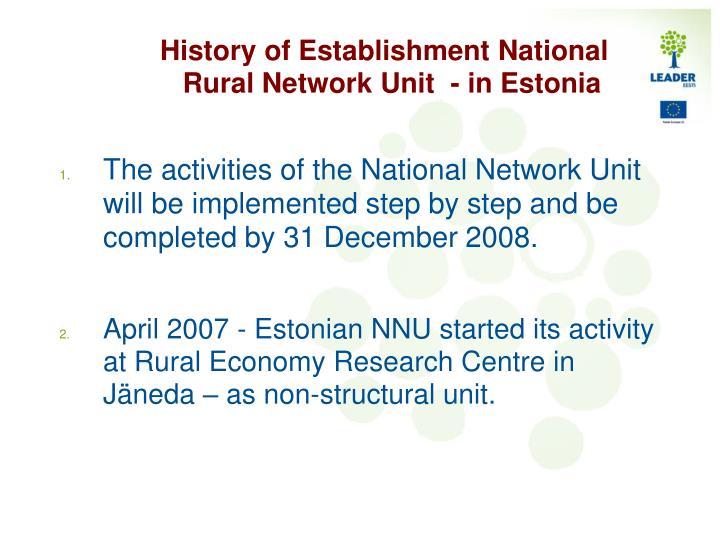 History of Establishment