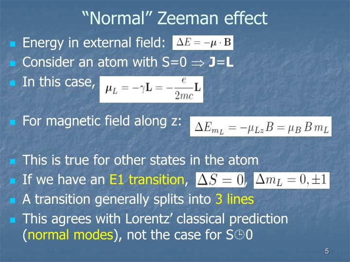 """Normal"" Zeeman effect"
