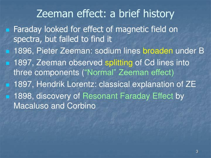Zeeman effect: a brief history