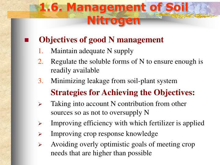 1.6. Management of Soil Nitrogen