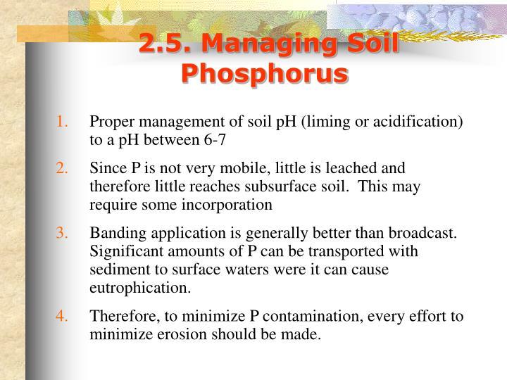 2.5. Managing Soil Phosphorus